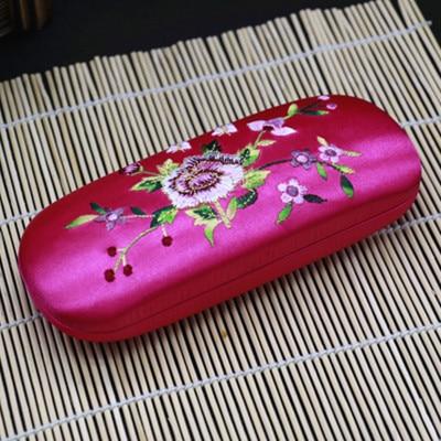 Высококачественная коробка ручной работы с двойной вышивкой, футляр для хранения очков, тонкая вишня, настоящая шелковая парча, Подарочная коробка, пенал - Цвет: fuchsia