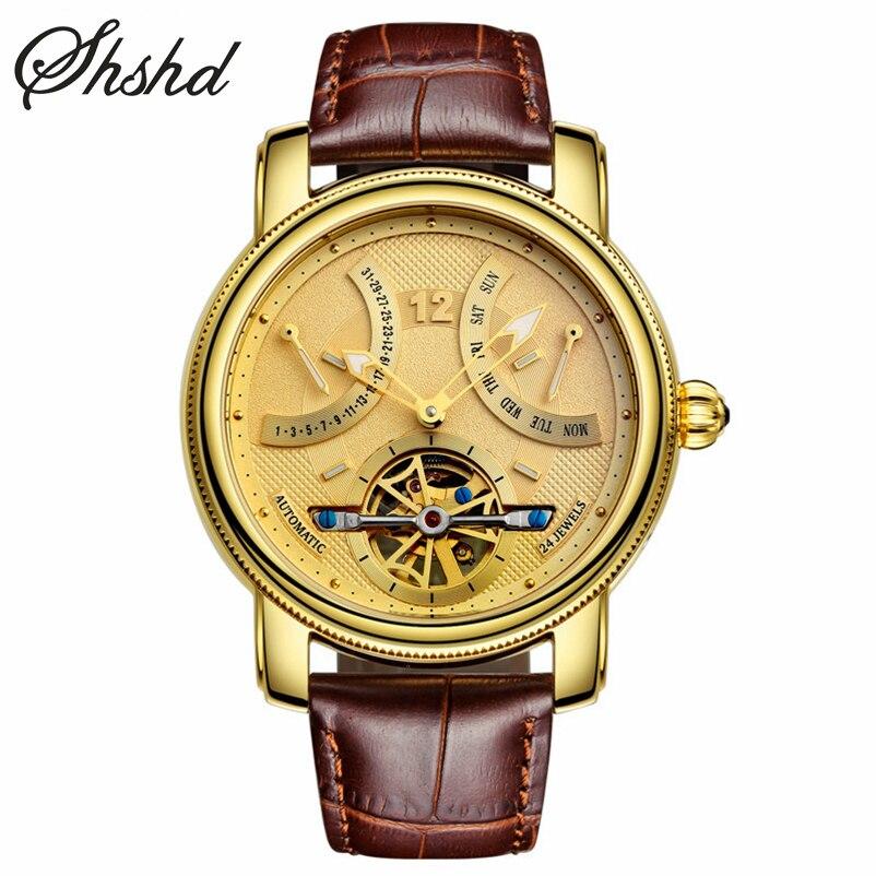 Luxury Gold Tourbillon Watch Auto Self-wind Mechanical Wristwatch Mens Watches Mens Leather Band Clock Luminous Reloj Hombre
