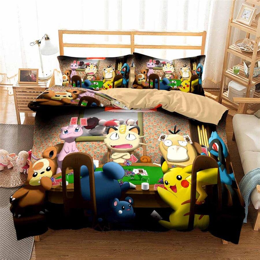 HELENGILI 3D Bedding Set Pokemon Pikachu Print Duvet Cover Set Bedcloth With Pillowcase Bed Set Home Textiles #GN-08