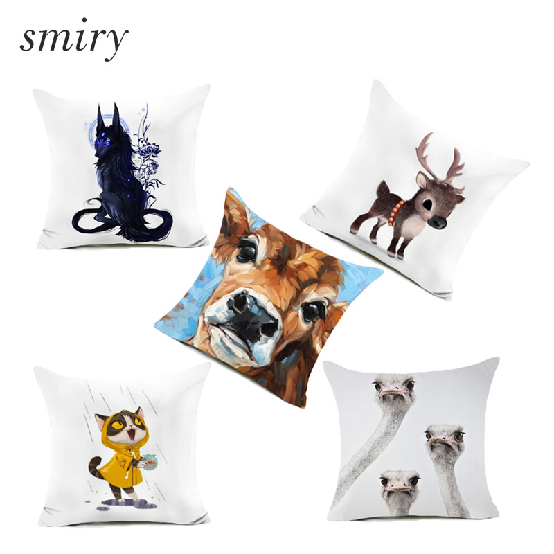 Cute cartoon animals pattern Polyester Cushion Cover Childrens favorite Pillow case White back Pillow Cover square cojines