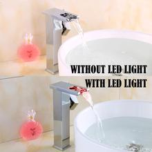 OUYASHI bathroom basin faucet deck mounted led light and without  countertop water fall tap