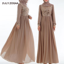 2019 New Fashion Women Muslim Dress Long Skirt Female High-end 3D Embroidery Sequins Womens Lace Abaya
