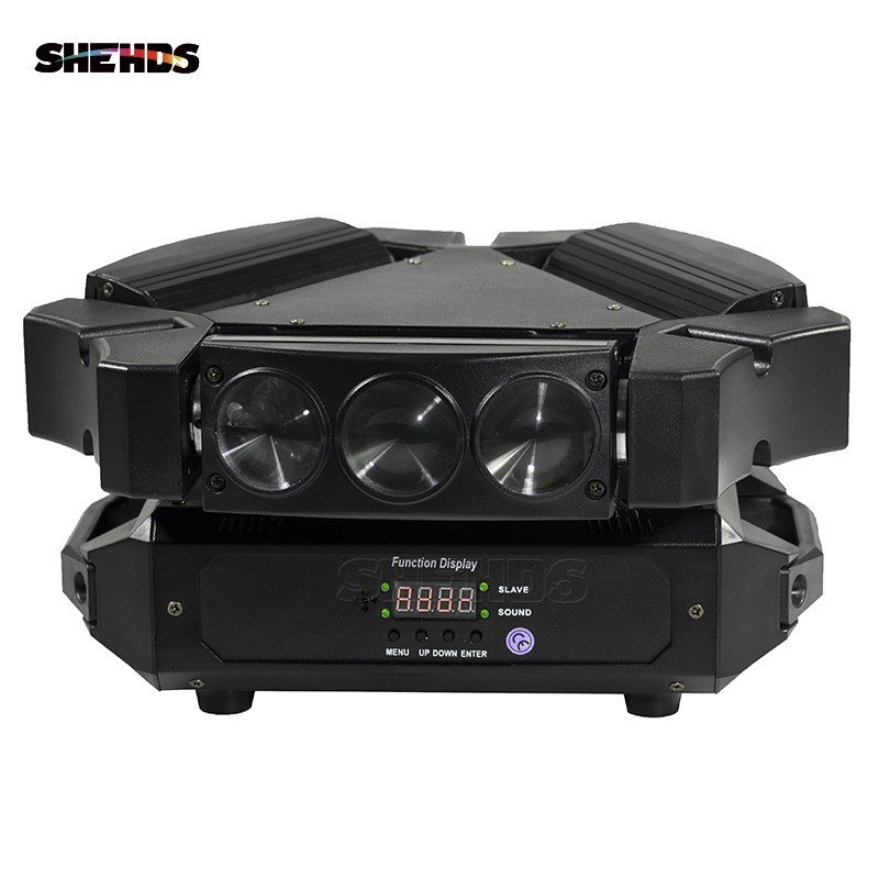 2 шт. / Лот Disco Light 9x10w 4in1 3-Head Mini Mini LED Spider Moving Head Stage Lighting Great Effect DMX512 DJ Обладнання барних вогнів