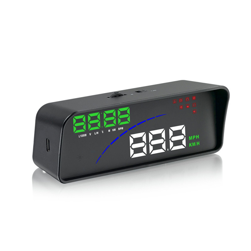 Car P9 HUD Head Up Display OBD Smart Digital Meter 2 Display Warning Alarm Water Temperature with OBDII EOBD System Model Cars