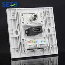SeTo 86 Тип HDMI+ tv+ Cat3 телефон+ Cat5e сетевой настенный разъем Keystone Лицевая панель