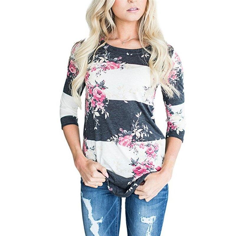 Модные Повседневное с длинным рукавом с цветочным принтом Футболка с цветочным принтом Для женщин футболки лето-осень 2017 футболка роковой дамы футболка одежда