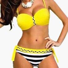 2017 Plus Size Bikini Set Brazilian Sexy Push Up Swimwear Women Padded Bandage Braid Swimsuit Big Yards 3XL Bikinis Swim Suit