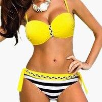 2017 Plus Size Bikini Set Brazilian Sexy Push Up Swimwear Women Padded Bandage Braid Swimsuit Big