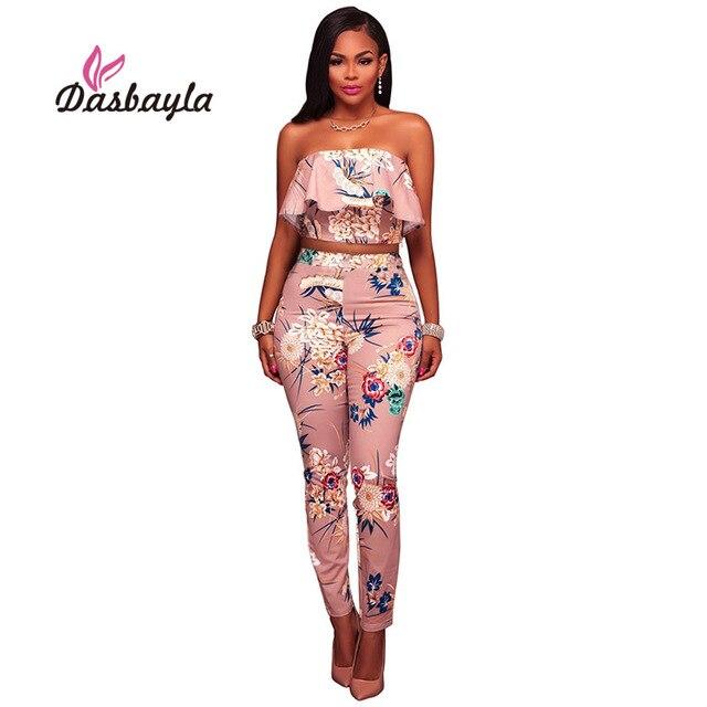 4f4a4c73b Dasbayla 2017 fora do ombro macacão duas peças Sexy slim calças moda Legal  romper verão macacão
