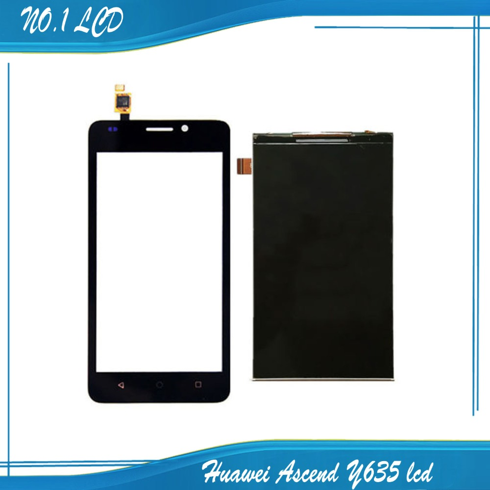 For Huawei Ascend Y635 Touch Screen Glass +LCD display panel matrix replacement repair parts black / white replacement original touch screen lcd display assembly framefor huawei ascend p7 freeshipping