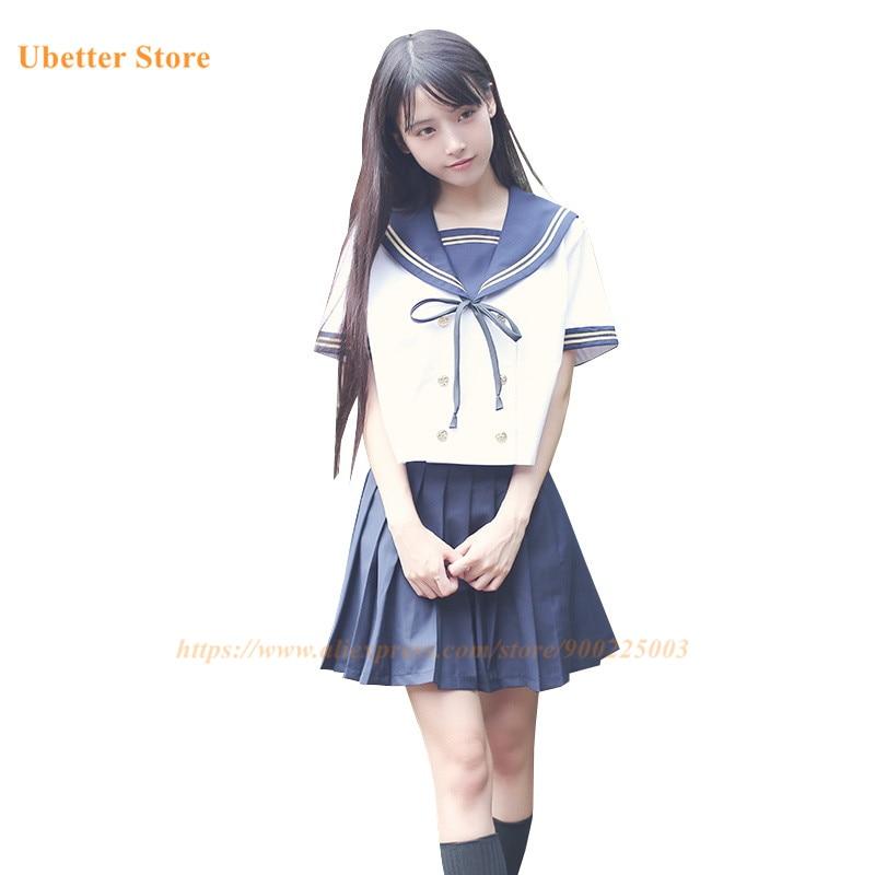 Girls Japanese School Uniform Japan Navy Sailor Uniform Ubetter Graduation Clothing School Shirt Skirt Students Sets U001