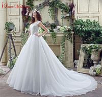 High Quality Lace Wedding Dress Scoop Nekline Sash Pleated Vestido De Noiva In Stock Ball Gown