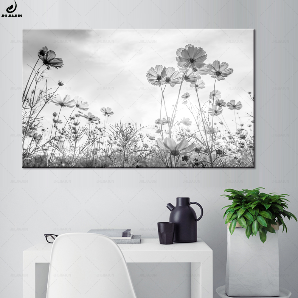 Modern Black And White Cosmos Flowers Poster And Print Wall Art