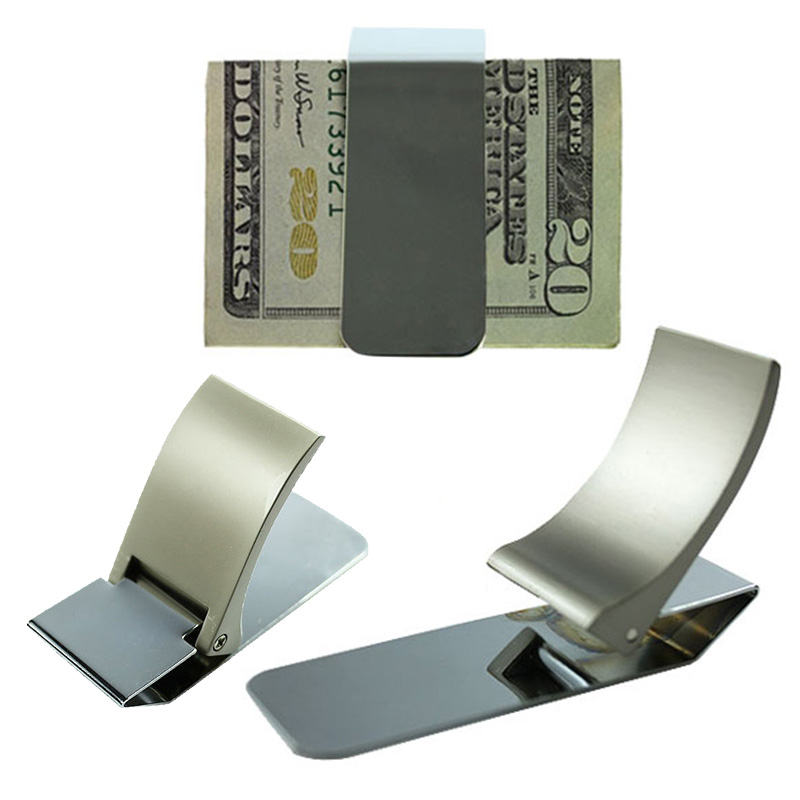 Wallet Slim Sided Stainless Steel Money Clip Card Credit Name Holder Wallets MUG88