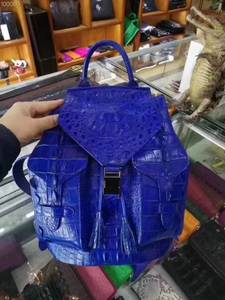 Color Backpack Real-Crocodile Fashion Bag Head-Skin Daily Brown Leisure Blue Solid Genuine