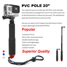 New 20″ Aluminum Extendable Pole Telescoping Handheld Monopod For GoPro HERO4 3+ SJCAM SJ4000 SJ5000 Xiaoyi Sport Action Camera