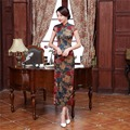 Shanghai Story chinese traditional dress oriental styled dresses Faux Silk Short Sleeve Qipao Long Chinese Cheongsam