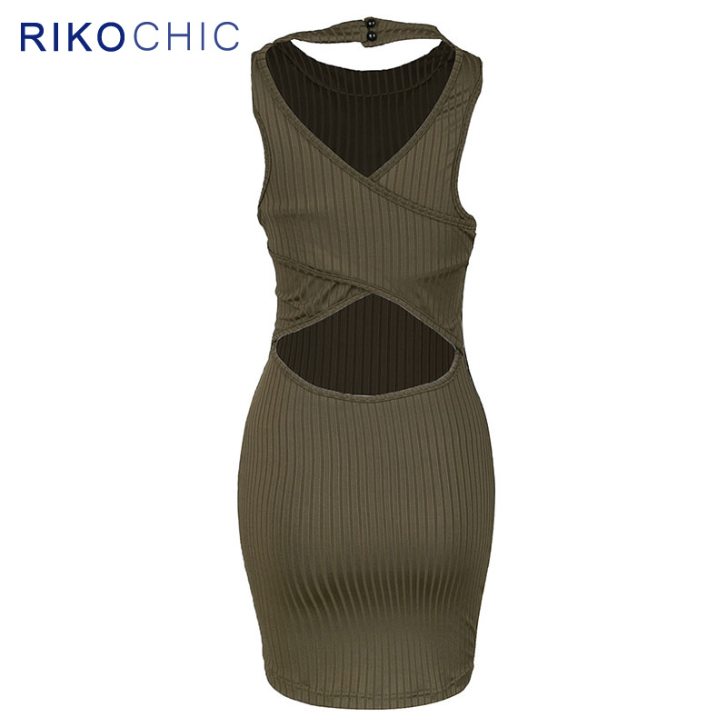 155902996f0b 2017 Fashion Knitted Women Halter Bodycon Dress Slim Fit Olive Green  Backless Sexy Mini Club Dress Summer Jersey vestidoS F001-in Dresses from  Women s ...