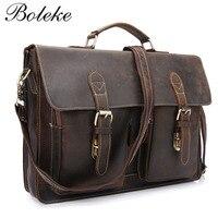 Brand Men Crazy Horse Genuine Leather Briefcase Handmade Vintage Messenger Shoulder Bag 15 6 Inch Laptop