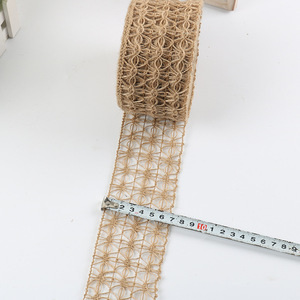 Image 5 - 2m/Roll Wide 7cm Hollow Design Natural Hessian Jute Twine Burlap Ribbon Christmas Home DIY Decoration Rustic Wedding Decor