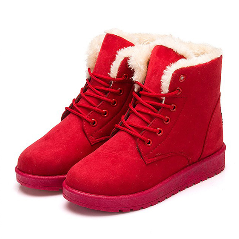 2017 New Arrival Women Boots Snow Warm Winter Boots Botas Ankle Boots Mujer Fur Ladies Shoes Winter Shoes Red Black Fashion 2016 new arrival ankle boots for women fashion winter shoes warm plush snow boots shoe bowtie women boots polka dot botas mujer