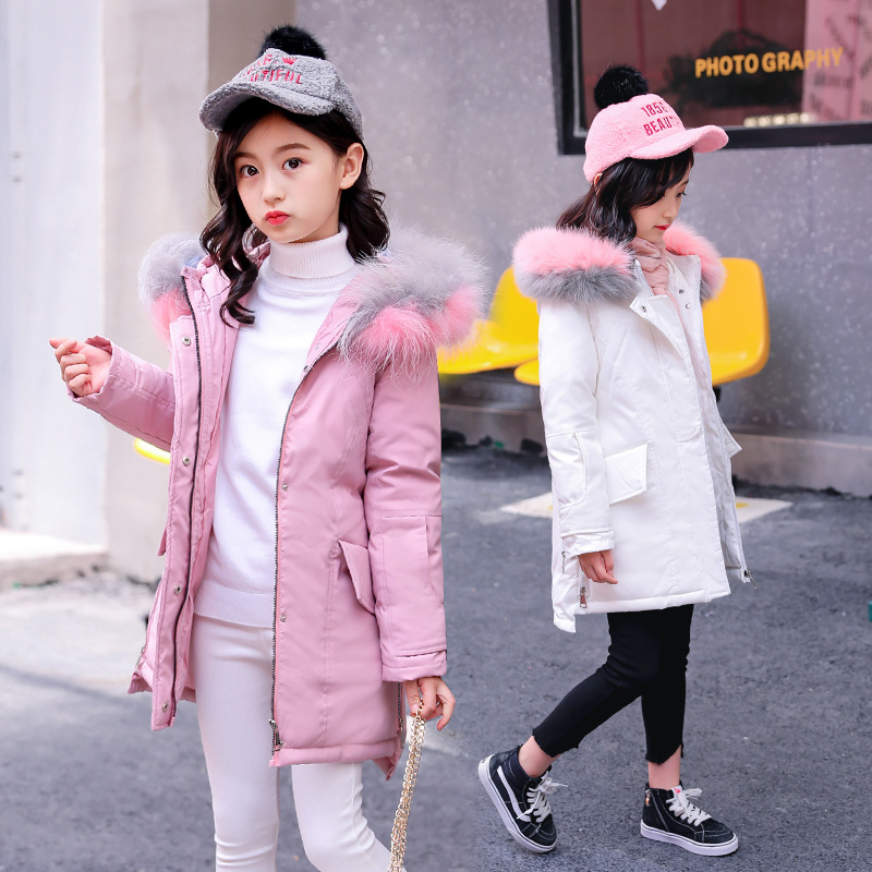 все цены на 2018 Fur Hood Jacket for Girls Children Snow Wear Parka Thick Down Coats Winter Jacket for Children Christma Winter Coat