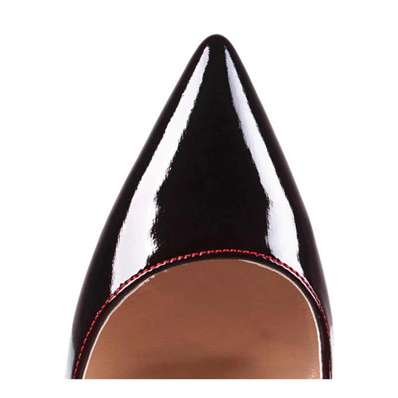 Bahar seksi kadınlar degrade renk yüksek topuk Patent deri Stilettos pompaları sivri burun bayanlar düşük kesim gelin parti pompaları