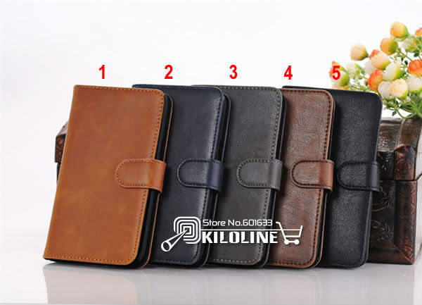 Gift Screen Film! Crazy Horse Holster Wallet Leather Case Cover With Card Slots for Samsung Galaxy Note 2 N7100