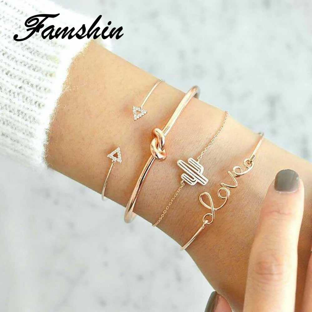 FAMSHIN Fashion 4PCS/1Set Gold Color Cactus Letter Knot Bracelet Set Bohemian Geometric Metal Chain Bracelet Statement Jewelry