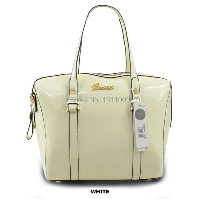 371ca30abf Free Shipping GUSSACI Brand Newest Fashion Women Girls Handag Shoulder Bag  Patent Leather Small Size White Good Gift 13F040-2