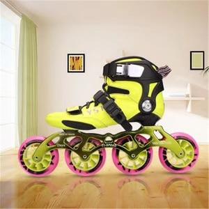 Image 5 - פחמן סיבי Inline מהירות גלגיליות נעליים לילדים ילדים סיב מרוצי מסלול תחרות 3X90mm 3X100mm 110MM 4X90mm 3 4 גלגלים