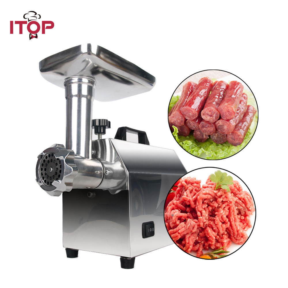 ITOP High Quality Electric Meat Grinder Household Sausage Stuffers Stainless Steel Meat Mincers Heavy Duty Machine 110V/220V