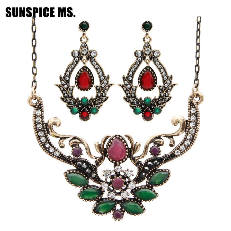 SUNSPICE MS. Z motywem tureckim w stylu vintage kropla żywicy kolczyki wody z cienkim łańcuszkiem naszyjnik indyjskie zestawy biżuterii Dropshipping Bridal Bijoux prezent