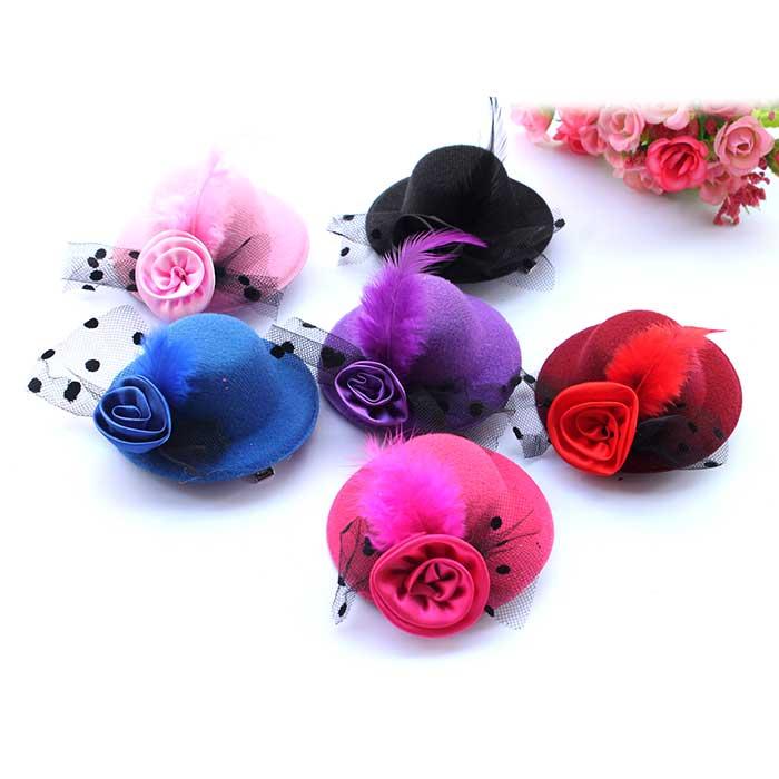 10pcs/lot 8CM Little Princess Part Costumes Feather Petal Lace Derby Top Hat Hair Clips Wedding Birthday Christmas Decors Favors
