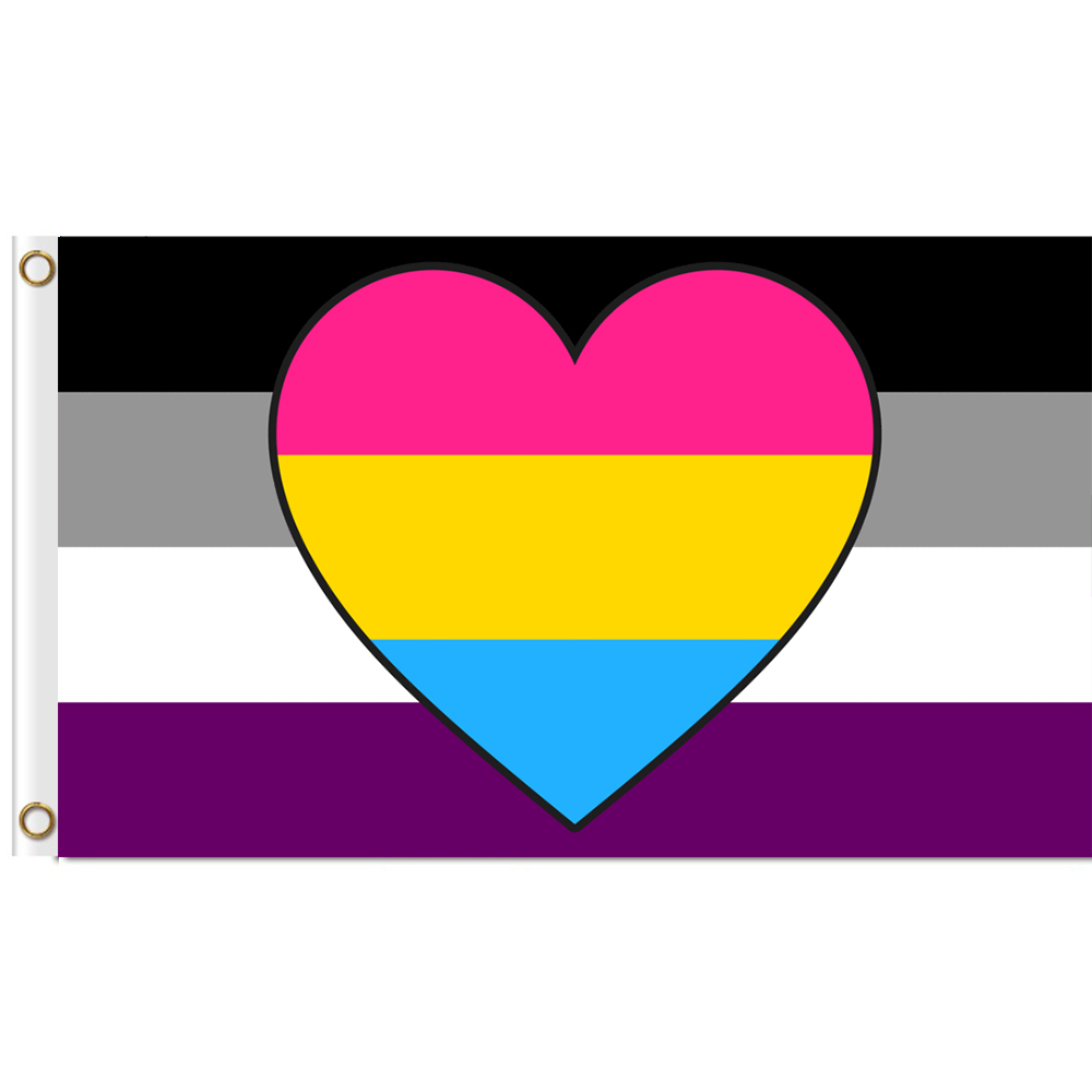 <font><b>Asexual</b></font> Panromantic Combo Flag 3x5 ft Printed Polyester Large Gay <font><b>Pride</b></font> LGBT Flag image