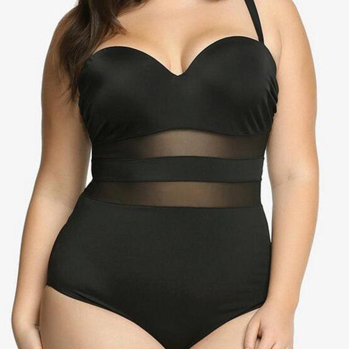 fc7d5d9152 Aliexpress.com   Buy Plus Big Size 4XL Women s Sexy Cheely Bustier Push Up  Mesh One Piece Beachwear Sets Swimsuits Bath Bathing Suits Swimwear 2017  from ...