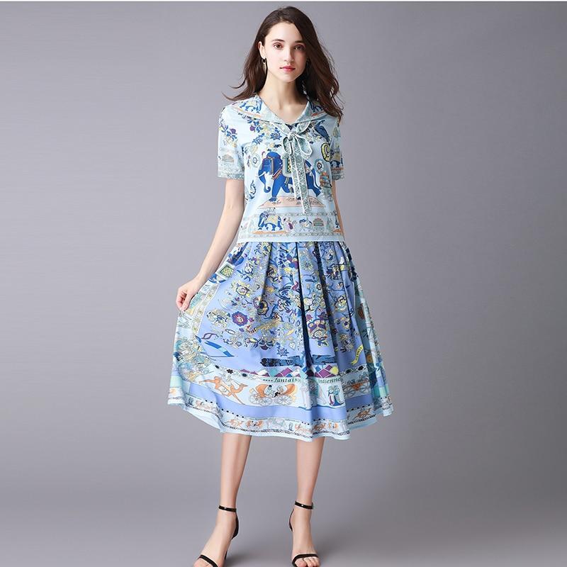 Marine Imprimer Youe Manches Jupe Femmes Brillait Ruban Col Mode Designer Qualité Cravate Haute Spécial 2018 Courtes Costume nmN80w