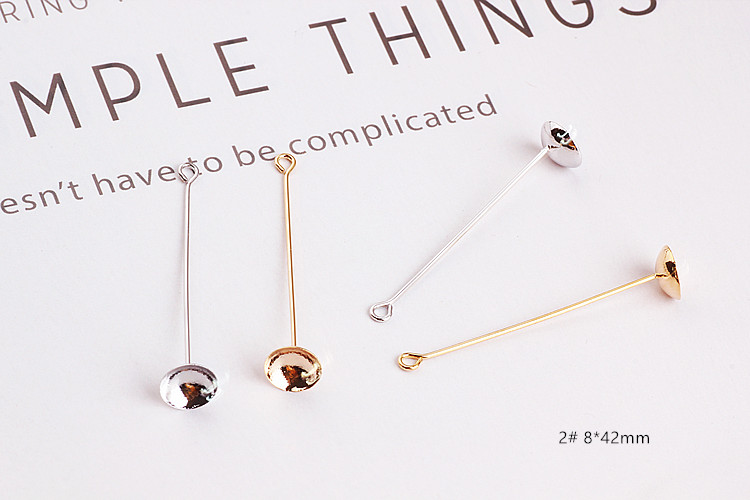 DIY ear jewelry accessories with gold plating copper belt hanging support oblong perforated ear nail pendant earrings materials in Jewelry Findings Components from Jewelry Accessories