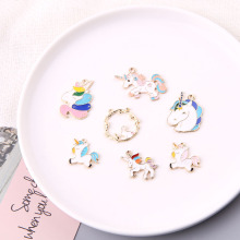 10pcs Oil Drop DIY Chunky Unicorn Enamel Charms Pendants Gold Color Horse Floating Fit Bracelet Earrings Jewelry Accessory FX090
