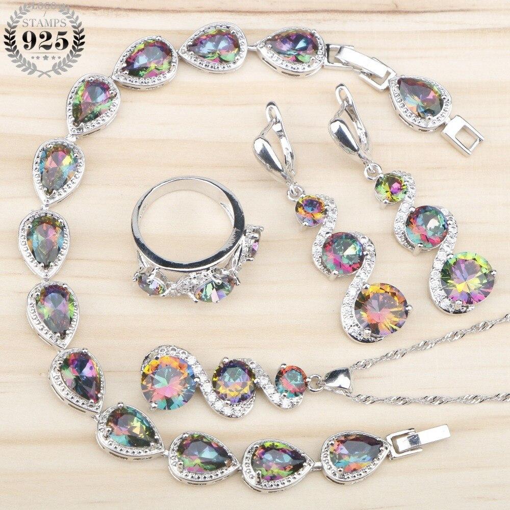 Natürliche Magie Regenbogen Stones 925 Silber Hochzeit Schmuck Sets Frauen Halskette Armbänder Anhänger Ringe Ohrringe Schmuck Geschenk Box