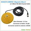 New Arrival KINNUOTA BMW58 Color Yellow MAGNETIC MOUNT SO239 with 5 Meter RG-58/U Coaxial Cable PL259