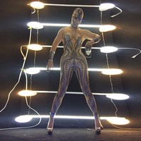 SEXY Singers Rhinestone Bodysuit Strass Leotard Models Show Stage Jumpsuit Female gogo Rompers Celebrate Women Birthday Outfits
