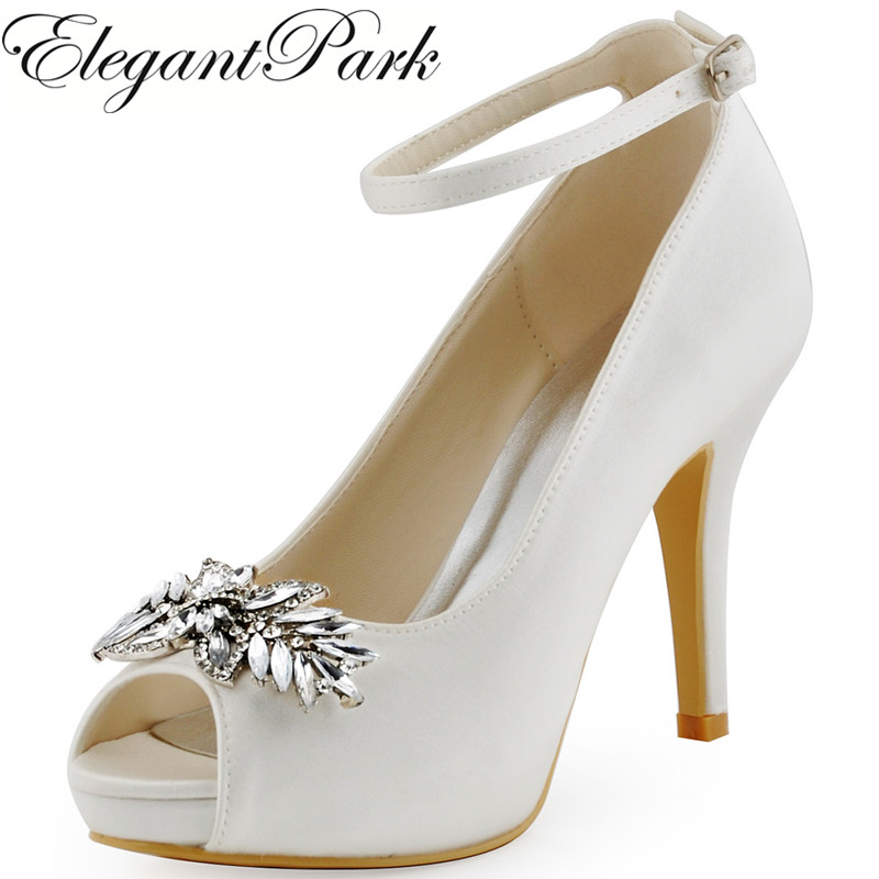 HP1544I White Woman Wedding Shoes Ankle Strap Crystal Buckle High Heel Platform Shoes Satin Women Bridal wedding Shoes Prom Pump hp1544i white ivory peep toe women wedding pumps ankle strap crystal buckle bride bridesmaids high heel satin bridal prom shoes