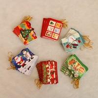 1Bag Cute Handmade Glove Shape Cartoon Santa Christmas Greeting Card Mini Kids Birthday Greeting Cards Christmas