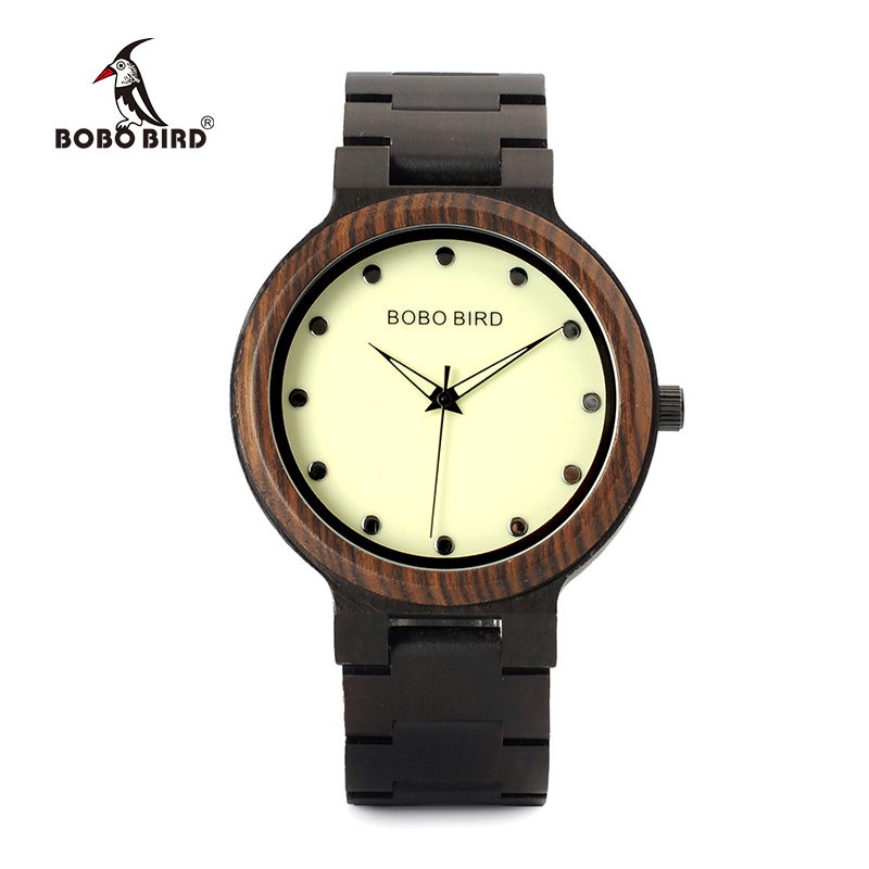 BOBO BIRD Men bamboo Wooden Watch Luminous Dial Wrist Watches With Wood Links In Gift Watch Box relojes hombre custom logo bobo bird i26 mens unique ebony wooden watches deer head dial casual quartz wrist watches with wood links in gift watch box