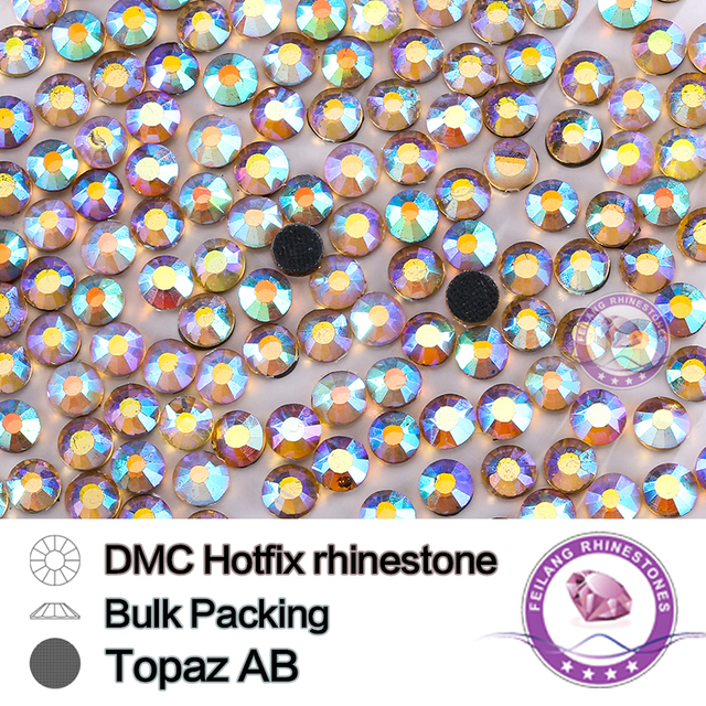 Topaz AB Size SS16 SS20 SS30 Bulking Packing HotFix Rhinestone Round Flatback For Garments Bags And Shoes