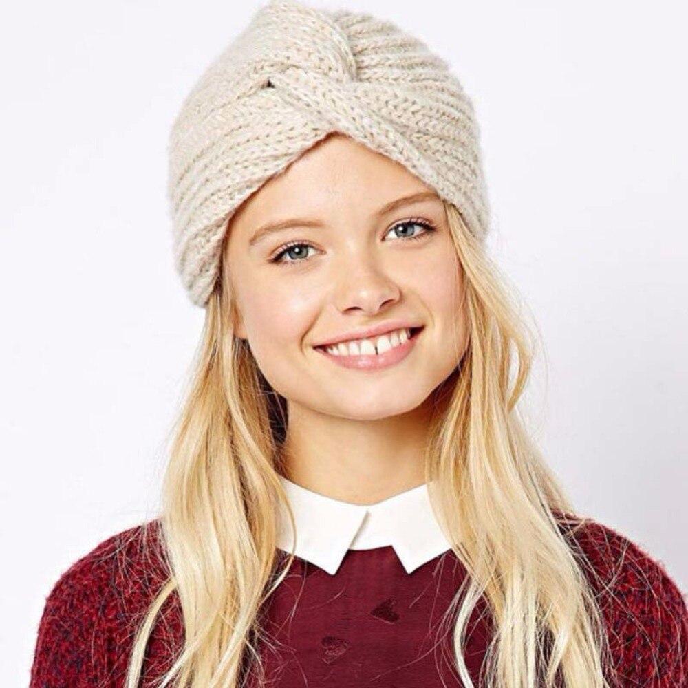 ead73219049 Detail Feedback Questions about 1pc Women Warm Knitted Hat Winter Autumn Hat  Wool Cap Women Cross Knitted Turban Cap Head Wrap Headwear Head Accessories  on ...