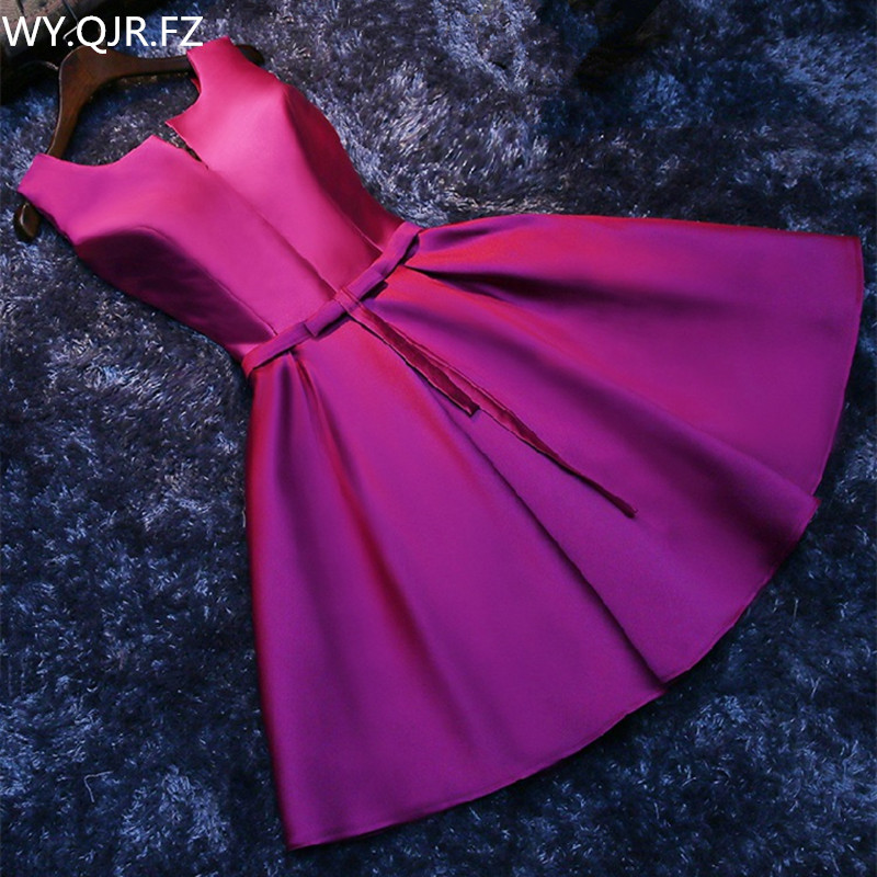 PTH-HJZY69#Short Lace Up New Korean Slim Banquet Party Dress Bridesmaid Dresses Purple Red Prom White Gown Wholesale Girl Dress