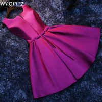 PTH HJZY69#Short lace up new Korean slim banquet party dress Bridesmaid Dresses purple red prom white gown wholesale girl dress