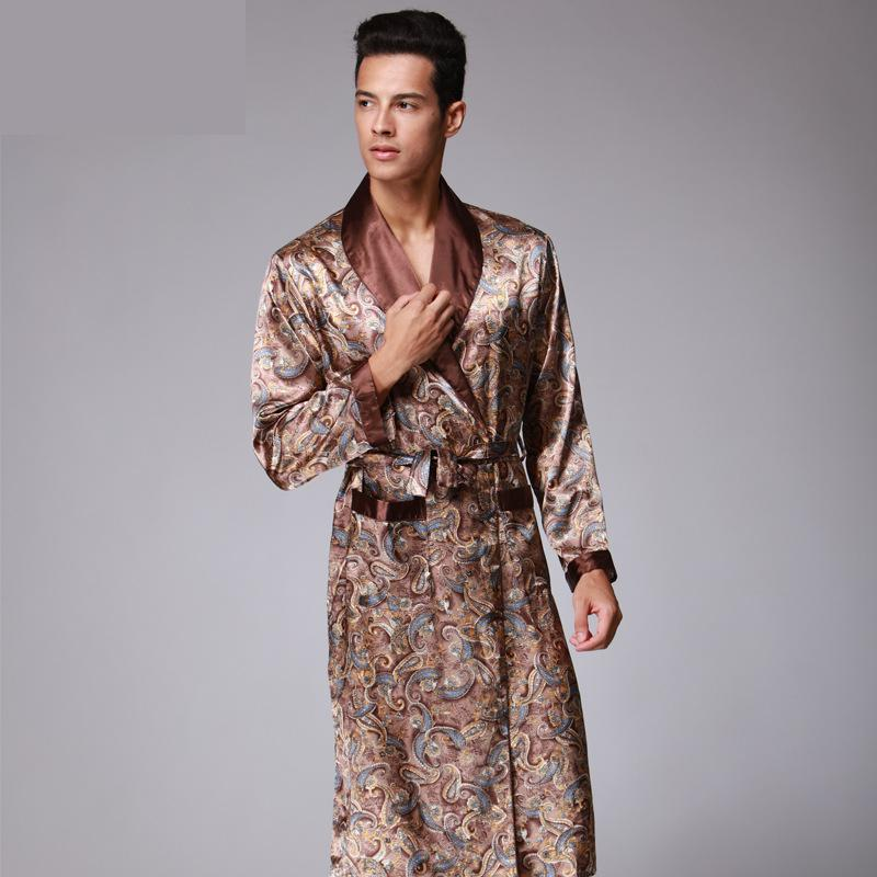 Nightwear Robes Kimono Luxury Sleepwear Satin Male Mens V-Neck Faux-Silk Paisley-Pattern